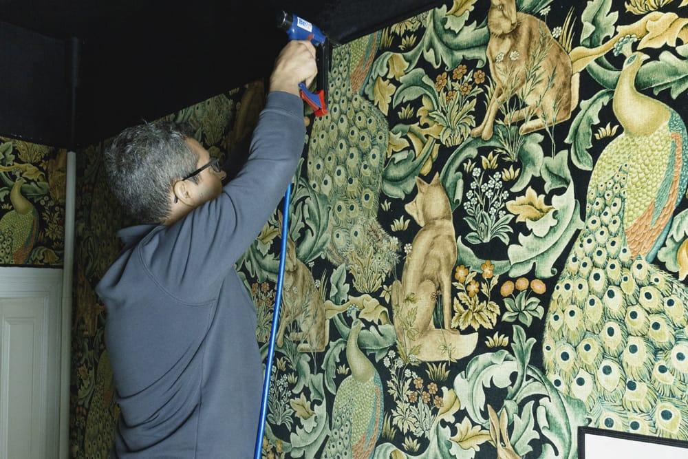 Tolle Wandbespannung aus Stoff mit Tieren